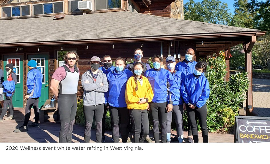 Residents participate at a 2020 wellness event white water rafting in West Virginia.