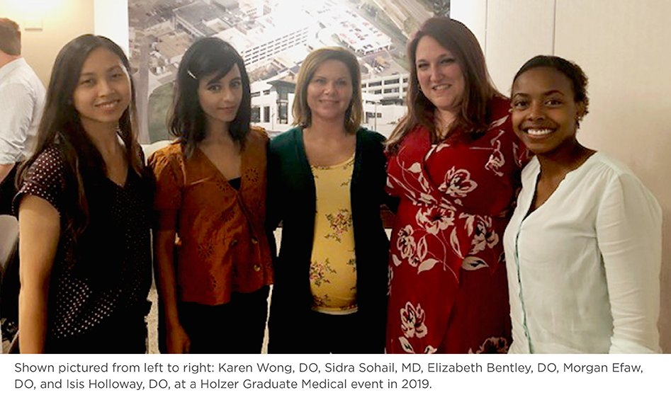 Karen Wong, DO, Sidra Sohail, MD, Elizabeth Bentley, DO, Morgan Efaw, DO, and Isis Holloway, DO, at a Holzer Graduate Medical event in 2019.