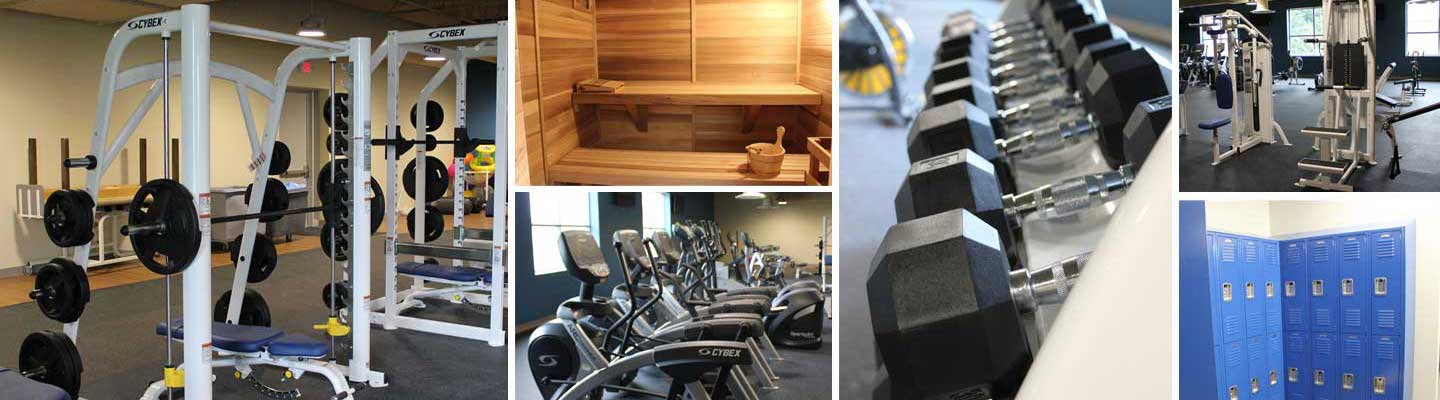 Collage of wellness center features and equipment