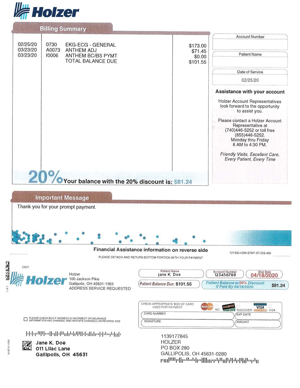 Holzer Medical Center Bill
