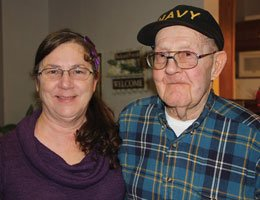 Shelly Argabright, left, with her father, Bill Downey, who attends the Day Break program at Holzer Assisted Living.