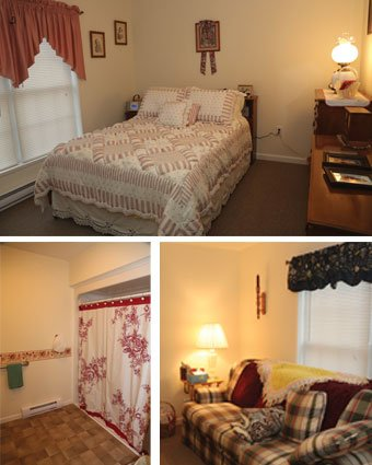 Bedroom, bathroom, and living areas of apartments at Holzer Assisted Living.
