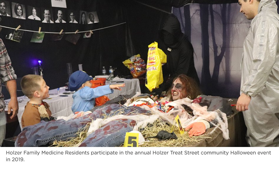 Holzer Family Medicine Residents participate in the annual Holzer Treat Street community Halloween event in 2019.