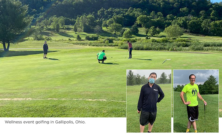 Residents participate at a wellness golfing event in Gallipolis, Ohio.